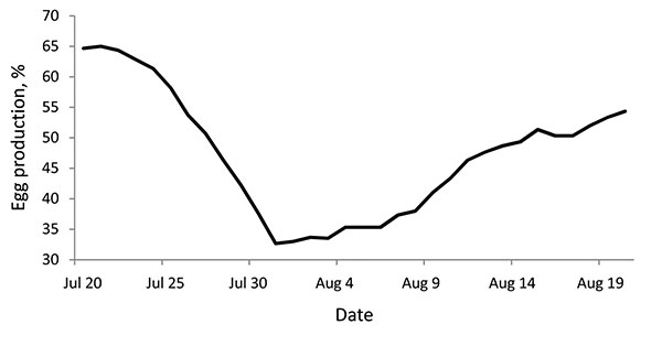 Average egg production of 3 pandemic (H1N1) 2009–infected turkey flocks (A1, A2, and A3) during July 20–August 20, 2009, Valparaiso, Chile. Production was calculated as a daily egg-laying rate (%).