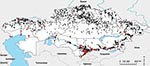 Thumbnail of Anthrax outbreaks in Kazakhstan, 1937–2005. Each dot represents an outbreak; red dots indicate that cultures were isolated and analyzed from these outbreaks.