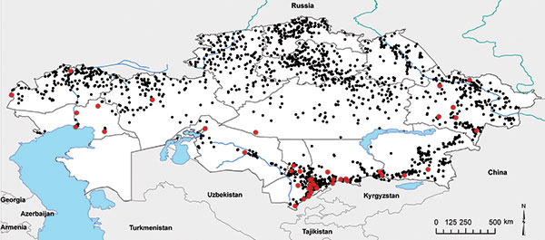 Anthrax outbreaks in Kazakhstan, 1937–2005. Each dot represents an outbreak; red dots indicate that cultures were isolated and analyzed from these outbreaks.