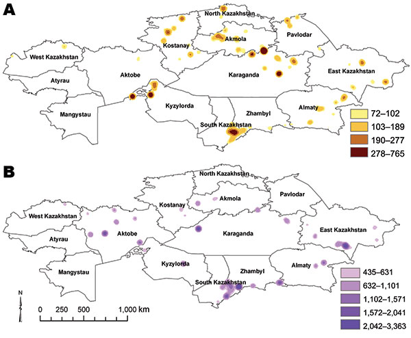 Kernel density estimates of anthrax outbreaks in cattle (A) and sheep (B), Kazakhstan, 1937–2005. Color shading represents SD values relative to density values from the kernel density estimate analysis for each species.