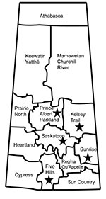 Thumbnail of Geographic distribution of 5 livestock-associated methicillin-resistant Staphylococcus aureus isolates (stars) from humans, Saskatchewan, January 2007–October 2008.