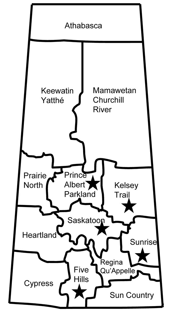 Geographic distribution of 5 livestock-associated methicillin-resistant Staphylococcus aureus isolates (stars) from humans, Saskatchewan, January 2007–October 2008.