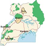 Thumbnail of Major towns in Uganda. Districts and major towns share the same names. Green shading, national parks; red lines, main roads; blue shading, perennial lakes.