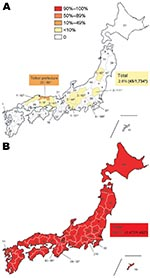 Thumbnail of Geographic distribution of oseltamivir-resistant influenza viruses A (H1N1) (ORVs) with H275Y in Japan during the 2007–08 and 2008–09 seasons. The total number of influenza A (H1N1) isolates tested is described inside each prefecture. Total frequency in Japan was 2.6% (45/1,734) during the 2007–08 season, although a high frequency (32.4%) of ORVs was observed in Tottori prefecture (A). On the other hand, total frequency was 99.7% (1,477/1,482) during the 2008–09 season (B), indicati