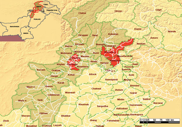 Areas of influenza (H5N1) cases in humans, Pakistan, 2007. Red shading indicates districts that reported suspected human cases of influenza (H5N1). Light brown shading indicates Northwest Frontier Province. Source: World Health Organization (WHO). Districts of avian influenza suspected cases in Northwest Frontier Province, Pakistan. WHO map no. WHO-PAK-002 (www.whopak.org/disaster).
