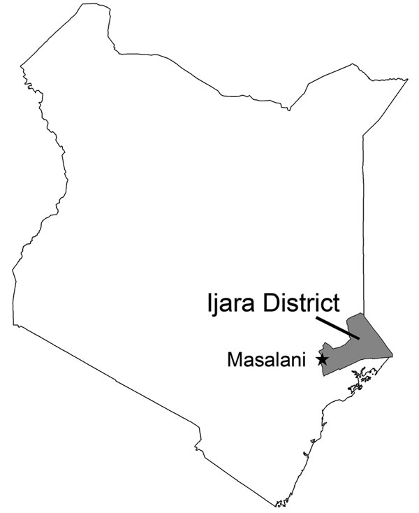 Location of Masalani Division of Ijara District, North Eastern Province, Kenya.