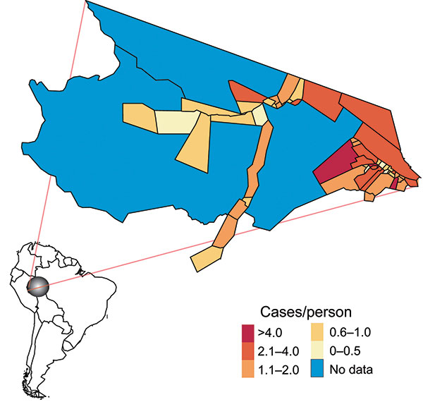 Mâncio Lima is the westernmost county in Brazil. The 2006 malaria incidence (cases/person) is mapped according to health districts (n = 54).