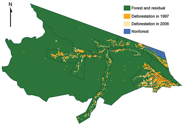 Deforestation trends in Mâncio Lima, Brazil, based on PRODES (Programa de Cálculo do Desflorestamento da Amazônia) 60 × 60–meter classified satellite imagery. The health districts are outlined in black. Baseline deforestation that occurred in 1997 is orange, deforestation that occurred between 1997 and 2006 is light brown, nonforested land is blue, and forested land is green.