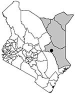 Thumbnail of North Eastern Province (shaded area), Kenya. The city of Garissa is marked with a black circle.