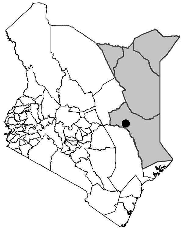 North Eastern Province (shaded area), Kenya. The city of Garissa is marked with a black circle.