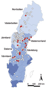 Thumbnail of Geographic origin of 263 Eurasian lynx (Lynx lynx) collected in Sweden during 1995–1999 and tested for orthopoxvirus (OPV)–specific DNA (open circles). OPV DNA was amplified by PCR from 24 animals (9%; red circles). Light blue areas represent sparsely populated (<5 inhabitants/km2) mountainous counties; medium blue areas represent more densely populated counties (10–41 inhabitants/km2) farther south; and dark blue areas represent counties with the highest human population densiti