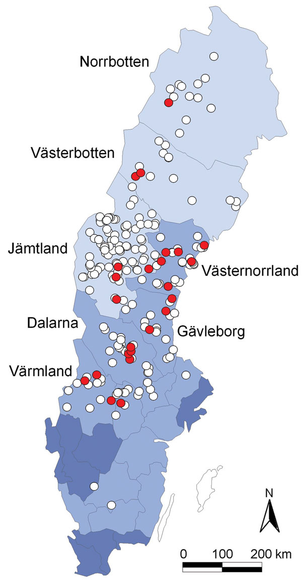 Geographic origin of 263 Eurasian lynx (Lynx lynx) collected in Sweden during 1995–1999 and tested for orthopoxvirus (OPV)–specific DNA (open circles). OPV DNA was amplified by PCR from 24 animals (9%; red circles). Light blue areas represent sparsely populated (<5 inhabitants/km2) mountainous counties; medium blue areas represent more densely populated counties (10–41 inhabitants/km2) farther south; and dark blue areas represent counties with the highest human population densities (>50 in