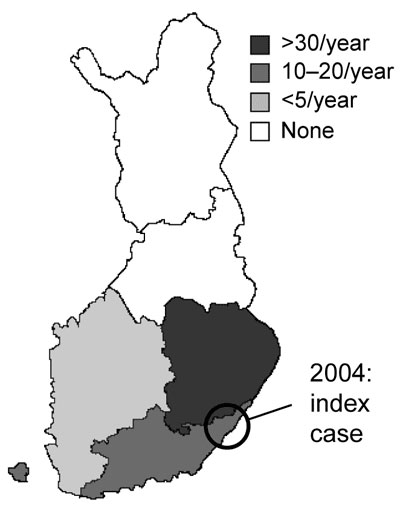 Municipality in Finland where human babesiosis infection (index case) was acquired and 3 bovine babesiosis cases were found in 2004. Average annual number of cases of babesiosis in cattle during 1997-2003 is indicated