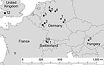 Thumbnail of Locations in Europe of bats positive for Geomyces destructans by PCR alone (circles) or by PCR and culture (solid stars) and bats negative for G. destructans but positive for other fungi (square). Numbers for locations correspond to those in Table 2. Sites 7, 8, and 9 had additional bats that were positive for G. destructans only by PCR. Location of a bat positive for G. destructans in France (16) is indicated by an open star. Some sites had >1 bat species with evidence of coloni