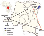 Thumbnail of Transport routes of clinical specimens from 2 pneumonic plague outbreaks, Democratic Republic of the Congo, 2005 and 2006.