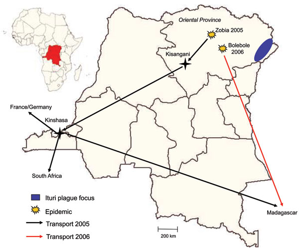 Transport routes of clinical specimens from 2 pneumonic plague outbreaks, Democratic Republic of the Congo, 2005 and 2006.