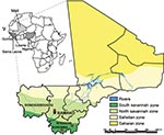 Thumbnail of Ecozones of Mali and locations where small mammals were trapped in June 2009. Inset shows location of Mali in relation to countries where Lassa virus is endemic (shaded).