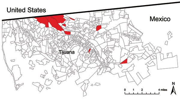 Red shaded areas indicate colonias of Tijuana, Mexico where pandemic (H1N1) 2009 virus screening took place, May 1–November 20, 2009.