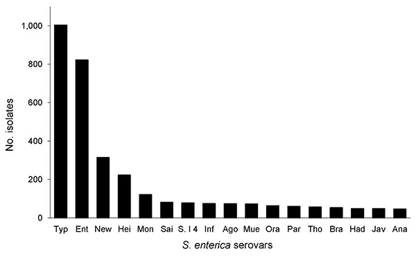 Frequency of the 17 most common Salmonella enterica serovars among clinical case isolates submitted to the Minnesota Department of Health, 2001–2007. Typ, Typhimurium; Ent, Enteritidis; New, Newport; Hei, Heidelberg; Mon, Montevideo; Sai, Saintpaul; S.I4, S.I 4,5,12:I:­–; Inf, Infantis, Ago, Agona; Mue, Muenchen; Ora, Oranienburo; Par, Paratyphi B var. L; Tho, Thompson; Bra, Braenderup; Had, Hadar; Jav, Javiana; Ana, Anatum.