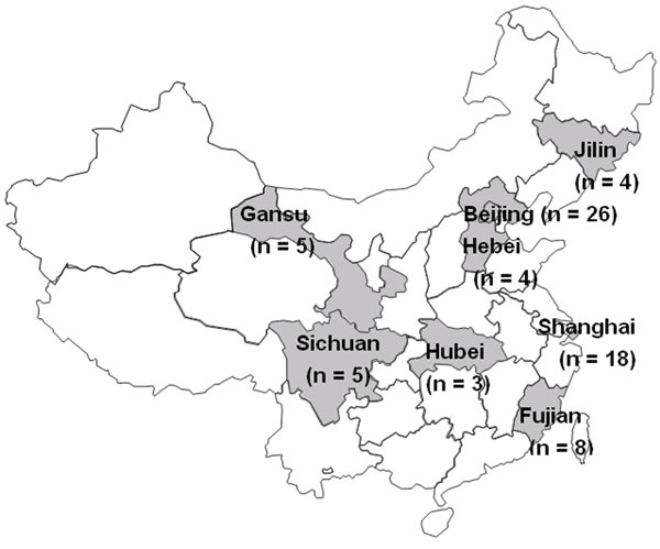Distribution of the Bordetella pertussis isolates collected during 1953-2005 in China. Places where the isolates were recovered are indicated by shading, and the numbers of isolates obtained from each location are provided within parenthesis. Of the 96 isolates studied, no information about origin was available for no. 23.