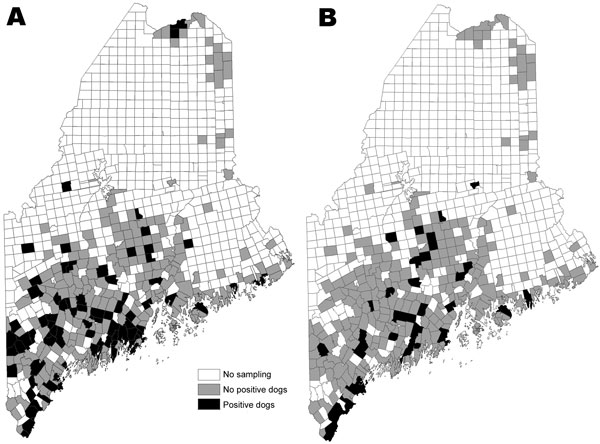 Towns where dogs were tested for seropositivity to Borrelia burgdorferi (A) and Anaplasma phagocytophilum (B) in a statewide serosurvey of domestic dogs, Maine, USA, 2007.