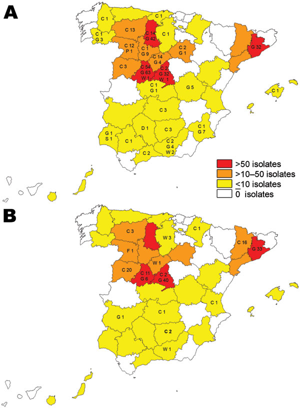 Map of Spain showing the distribution of the 2 most frequent Mycobacterium caprae spoligotypes and affected animals: C, cattle; D, red deer; F, fox; G, goats; S, sheep; P, pigs; WB, wild boar. A) Spoligotype SB0157. B) Spoligotype SB0416.