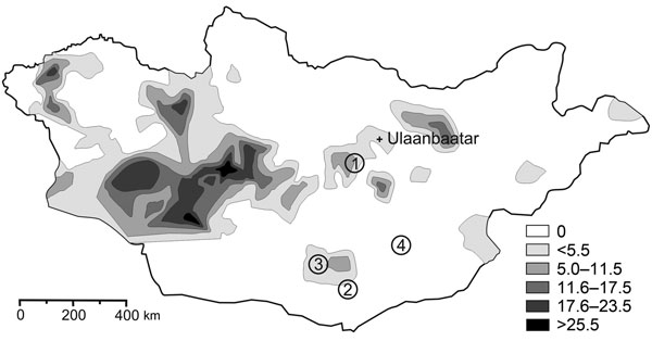 Yersina pestis in rodents in Mongolia. Shaded areas show the known distribution of enzootic plague in Mongolia during 1948–1999 (V. Batsaikhan, J. Myagmar, G. Bolormaa, National Center for Infectious Diseases with Natural Foci, Ulanbaatar, Mongolia; pers. comm.). The following 133 rodents were investigated: gerbils (Meriones unguiculatus, 61; M. meridianus, 25; Rhombomys opimus, 17); jerboas (Allactaga sibirica, 6; Stylodipus telum, 1; Dipus sagitta, 4; Cardiocranius paradoxus, 1), and squirrels