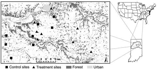 Study area of raccoon latrines showing locations of treatment and control patches, Upper Wabash Basin, north-central Indiana, 2007–2008. Dominant land use is represented by degree of shading.