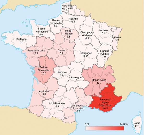 Geographic distribution of acute Q fever cases, France, 2000–2009. Values and scale bar indicate % prevalence.