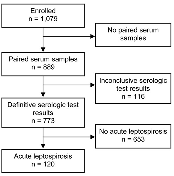 Flowchart indicating selection of study participants with a diagnosis of acute leptospirosis, southern Sri Lanka, 2007.
