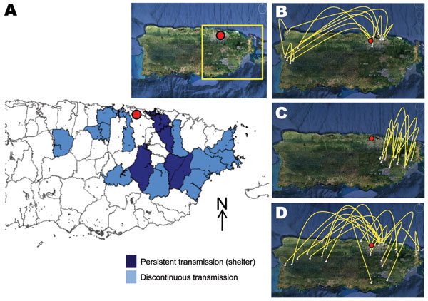 Epidemiology of dengue virus (DENV) serotype 2 in Puerto Rico, 1997–2006. A) Municipalities with persistent DENV-2 transmission (Caguas, Juncos, Las Piedras, Carolina) versus those with discontinuous transmission (Morovis, Toa Alta, Toa Baja, Cataño, Guaynabo, Cidra, San Lorenzo, Canóvanas, Humacao, Naguabo, Ceiba, Fajardo), 1998–2002. Inset shows satellite view; red dot indicates national capital (San Juan), and yellow box indicates region where DENV-2 took refuge during 2000–2002. B–D) Satelli