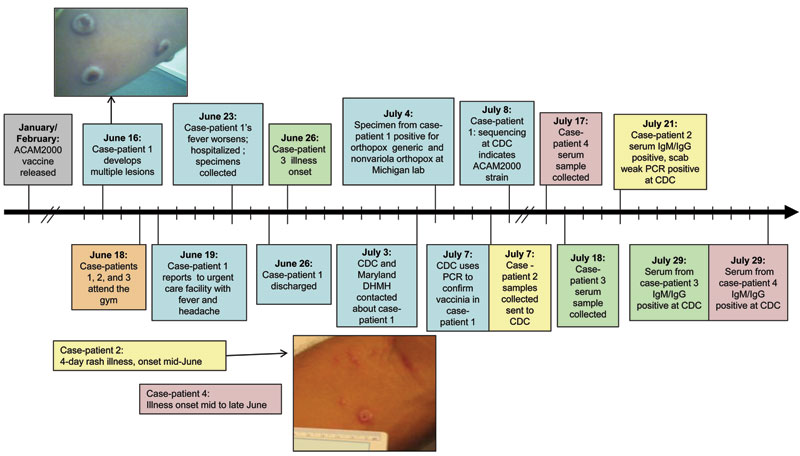 Timeline of the vaccinia cluster, Maryland, USA, 2008. The photo of case-patient 1's skin lesions was taken on ≈day 8 of illness (courtesy of R. Reddy). The photo of case-patient 2's skin lesions was taken ≈3 weeks after lesion onset (courtesy of K. Russo). Blue shading, case-patient 1; yellow shading, case-patieint 2; green shading, case-patient 3. CDC, Centers for Disease Control and Prevention; Ig, immunoglobulin; DHMH, Department of Health and Mental Hygiene.