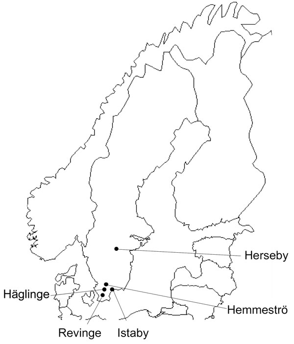 Collection locations for rodents and shrews tested for Candidatus Neoehrlichia mikurensis and Bartonella spp. infections, southern Sweden, 2008. Prevalence of infection: Häglinge, n = 45 infections, 0% Candidatus N. mikurensis, 44.4% Bartonella spp.; Revinge, n = 623 infections, 9.3% Candidatus N. mikurensis, 33.7% Bartonella spp.; Istaby, n = 53 infections, 3.8% Candidatus N. mikurensis, 34% Bartonella spp.; Hemmeströ, n = 64 infections, 4.7% Candidatus N. mikurensis, 39.1% Bartonella spp.; Her