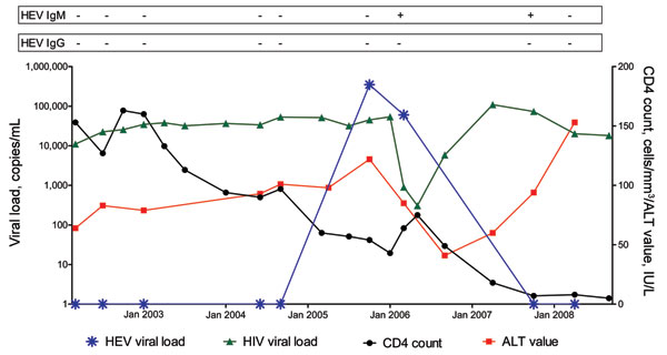 Longitudinal description of blood hepatitis E virus (HEV) serology, HEV RNA, alanine aminotransferase (ALT) levels, HIV RNA, and CD4 count in patient with positive real-time PCR results for HEV infection but without serologic seroconversion to immunoglobulin (Ig) G.