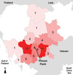 Thumbnail of Map of Cambodia with geographic origin of the 58 patients with melioidosis diagnosed during July 1, 2007–January 31, 2010.