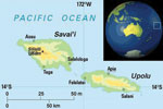 Thumbnail of Map of Samoa, showing the 2 main islands, Upolu and Savai'i, and the capital Apia. Reproduced with permission from Oxford Cartographers (www.oxfordcartographers.com).