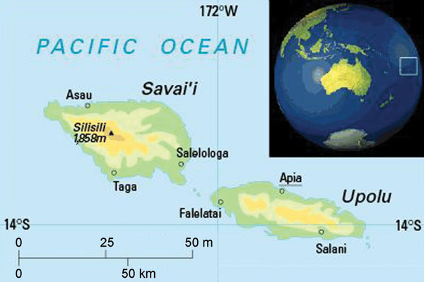 Map of Samoa, showing the 2 main islands, Upolu and Savai'i, and the capital Apia. Reproduced with permission from Oxford Cartographers (www.oxfordcartographers.com).