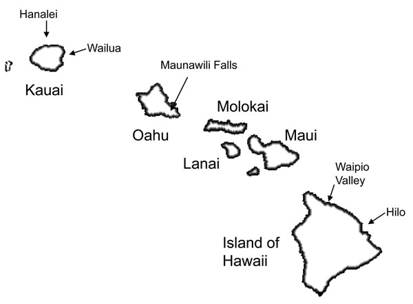 Exposure locations associated with the greatest number of leptospirosis cases, Hawaii, USA, 1999–2008.