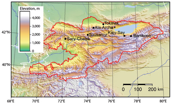 Animal trapping sites in Kyrgyzstan, with topographic characteristics shown. Ala-Archa (star) is the location of tick-borne encephalitis virus and a possible human case of tick-borne encephalitis.