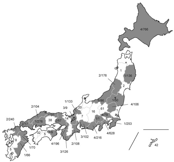 Geographic distribution of H275Y-harboring oseltamivir-resistant pandemic (H1N1) 2009 viruses in Japan, May 2009–February 2010. Values are no. oseltamivir-resistant isolates/total no. tested. Overall prevalence in Japan was 1.4% (61/4,307).