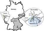 Thumbnail of Tick sampling sites in Germany during 2008 and 2009 (green shading): Saarland, sites A–C, along the border with France (sampled March–September 2008). Bavaria, site D (sampled April and September 2009). Saxony, sites E–G, in Lake Cospuden renatured brown coal surface-mining area (blue shading); site H, renatured waste disposal site (sampled April and September/October 2009); and site I, game park (sampled in April 2009). Federal states of Saarland, Bavaria, and Saxony are shaded in