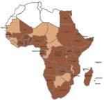 Thumbnail of Dengue and Aedes aegypti mosquitoes in Africa. Brown indicates 34 countries in which dengue has been reported, including dengue reported only in travelers, and Ae. aegypti mosquitoes. Light brown indicates 13 countries (Mauritania, The Gambia, Guinea-Bissau, Guinea, Sierra Leone, Liberia, Niger, Chad, Central African Republic, Republic of the Congo, Malawi, Zimbabwe, and Botswana) in which dengue has not been reported but that have Ae. aegypti mosquitoes. White indicates 5 countries