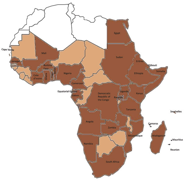 Dengue and Aedes aegypti mosquitoes in Africa. Brown indicates 34 countries in which dengue has been reported, including dengue reported only in travelers, and Ae. aegypti mosquitoes. Light brown indicates 13 countries (Mauritania, The Gambia, Guinea-Bissau, Guinea, Sierra Leone, Liberia, Niger, Chad, Central African Republic, Republic of the Congo, Malawi, Zimbabwe, and Botswana) in which dengue has not been reported but that have Ae. aegypti mosquitoes. White indicates 5 countries (Western Sah