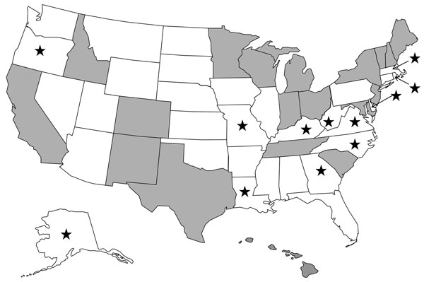 CaliciNet participating states (gray), nonparticipating states (white), and 12 states that submitted norovirus-positive specimens to Centers for Disease Control and Prevention for P2 analysis (stars).