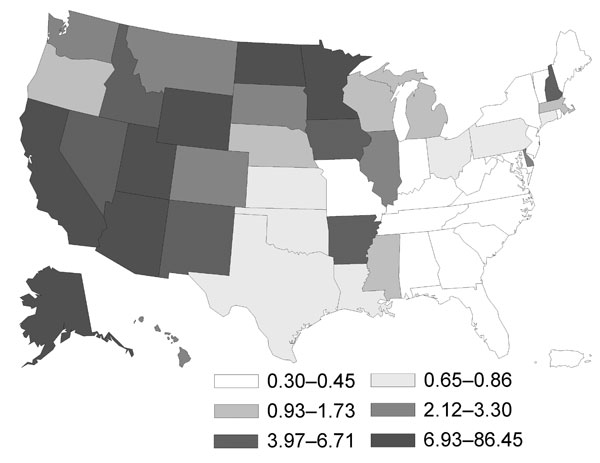 Geographic distribution of coccidioidomycosis in persons >65 years of age, United States, 1999–2008. Values are no. cases/100,000 person-years.