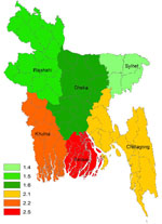 Thumbnail of Crude incidence rate (per 100,000 population/year) of Guillain-Barré syndrome in children <15 years of age, Bangladesh, 2006 and 2007.