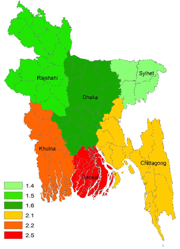 Crude incidence rate (per 100,000 population/year) of Guillain-Barré syndrome in children <15 years of age, Bangladesh, 2006 and 2007.