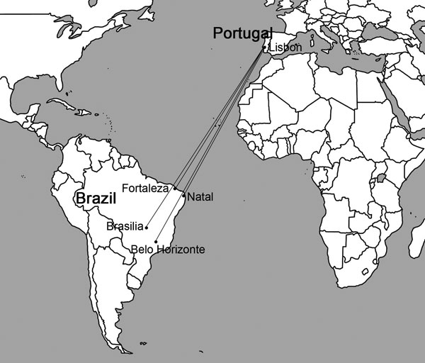 Commercial air transport routes between Lisbon, Portugal, and cities in Brazil that could make possible the accidental importation into Europe of Lutzomyia longipalpis sand flies, a vector of visceral leishmaniasis.