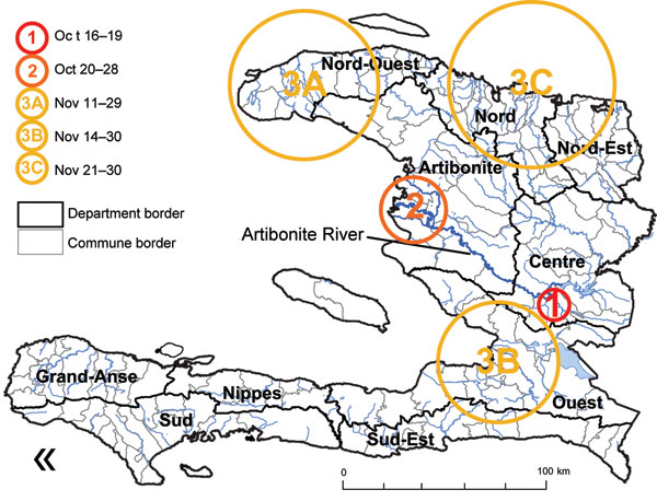 Spatiotemporal clusters of cholera cases, Haiti (results of SaTScan [Kulldorf, Cambridge, UK] analysis). The first cluster covered 1 commune, Mirebalais, October 16–19; the second cluster covered a few communes in or near the Artibonite delta during October 20–28; the next 3 clusters appeared in the North-West Department (A) during November 11–29, in the West Department (B) during November 14–30, and in the North and North-East Departments (C) during November 21–30. Other departments were affect