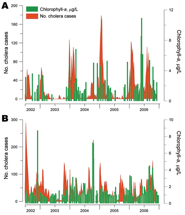 Link between the number of cholera cases and fluctuations in phytoplankton abundance (chlorophyll-a concentrations) in Lake Tanganyika, Africa Great Lakes region, January 2002–December 2006. Two of 5 cholera hotspots in the region were tested, both of which face Lake Tanganyika: Uvira (A) and Kalemie (B). Green indicates median concentrations of chlorophyll-a in surface water; red indicates cholera cases.